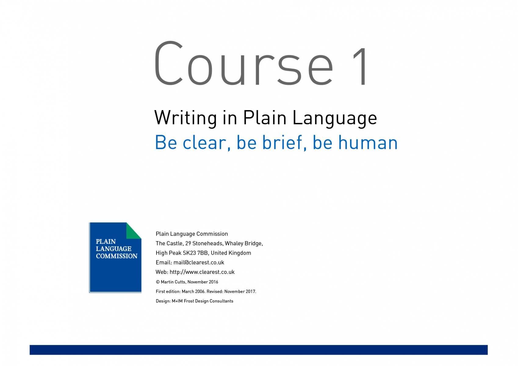 Writing in Plain Language Course 1 slide 1
